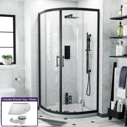 Saturn Black Framed Quadrant 1850 x 870 Corner Shower Enclosure & Tray