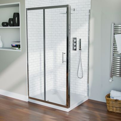 1000 mm Slider Shower Door Enclosure with 700 Framless Glass Panel Screen + Tray