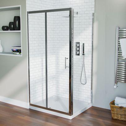 Shower 1000mm Sliding Door with 760 mm Frameless Glass Side Panel Screen