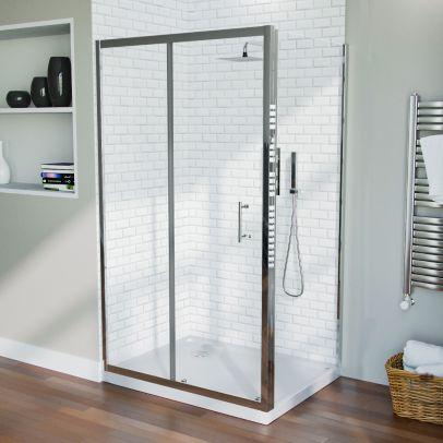 Saturn Frameless 1100 x 700mm Shower Sliding Door Enclosure, Tray & Waste
