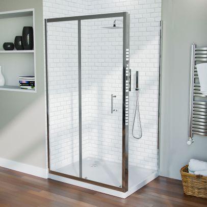Shower 1100mm Sliding Door with 760 mm Frameless Glass Side Panel Screen