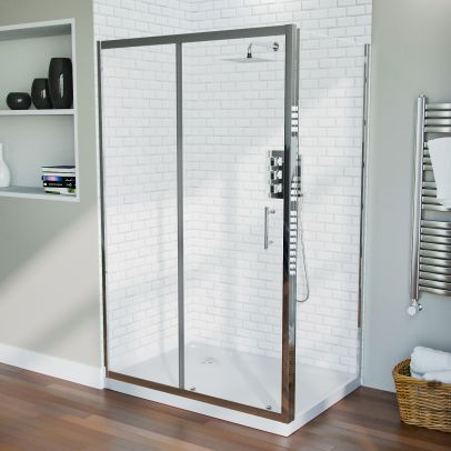 1200 mm Slider Shower Door Enclosure with 700 Frameless Glass Panel Screen + Tray
