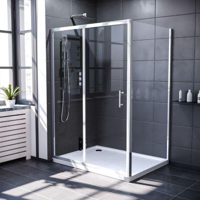 Keni 1300mm Shower Sliding Door & 900mm Frameless Glass Side Panel Screen Chrome