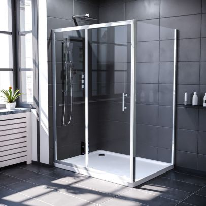 Keni 1300mm Shower Sliding Door, 800mm Frameless Glass Side Panel Screen & Tray Chrome