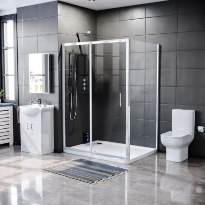 Keni 1100mm Slider Door, 700mm Side Panel, Tray, 550mm White Vanity Unit and Close Coupled Toilet
