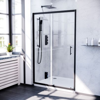 Keni 1100mm Sliding Glass Screen Shower Door Matte Black