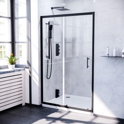 Keni 1000mm Sliding Glass Screen Shower Door Matte Black