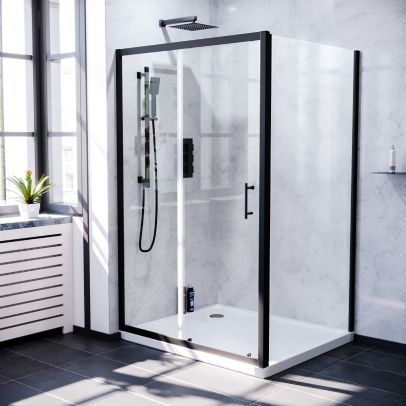 Keni 1200mm Shower Sliding Door & 800mm Frameless Glass Side Panel Screen Matte Black