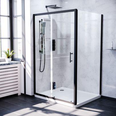 Keni 1200mm Shower Sliding Door, 900mm Frameless Glass Side Panel Screen & Tray Matte Black