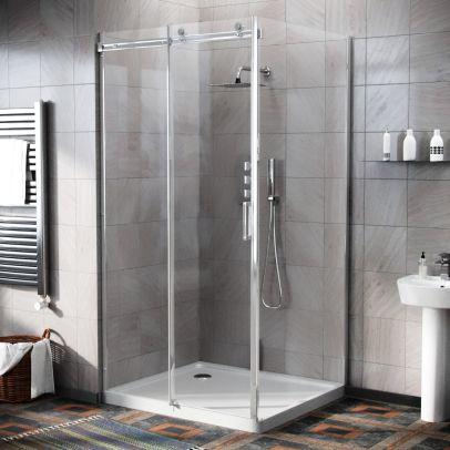 Hardwick 1000 x 900mm Frameless Sliding Shower Door Enclosure