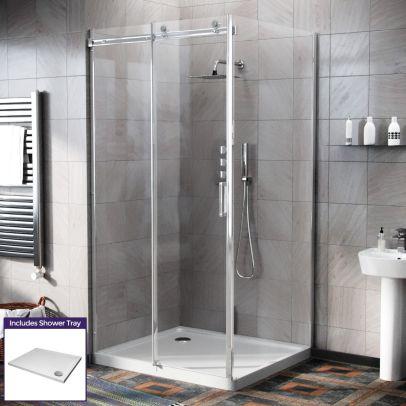 Hardwick 1000 x 900mm Frameless Sliding Shower Door Enclosure, Tray & Waste