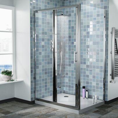 Bi-Fold Folding 800 mm Glass Door with Frameless 900 mm Side Panel
