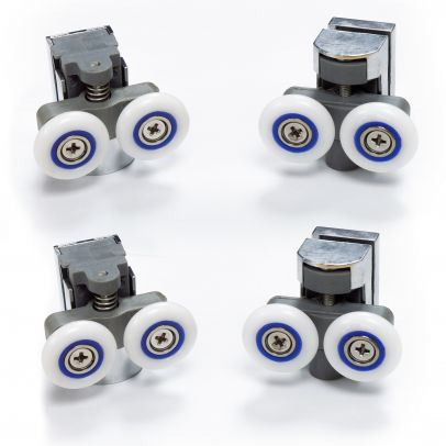 4 Shower Door Wheels Twin Top and Bottom Roller Runners