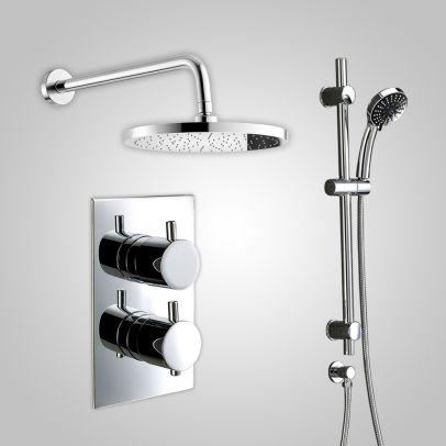 Violet Thermostatic 2 Dial 2 Way Round Set - Shower Head & Slider Rail Handset