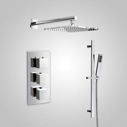 Cameo 3 Dial 2 Way Square Set - Shower Head & Rail Handset