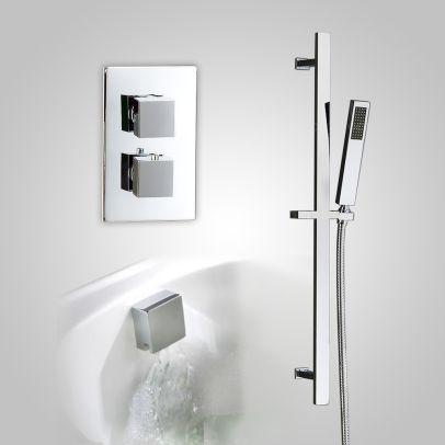 Temelis 2 Dial 2 Way Square Set - Rail Handset & Bath Filler