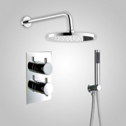 Violet Round Thermostatic Shower Mixer Set - Shower Head & Handset