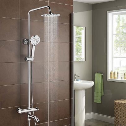 Fawley Round Thermostatic Shower Kit with Bath Filler