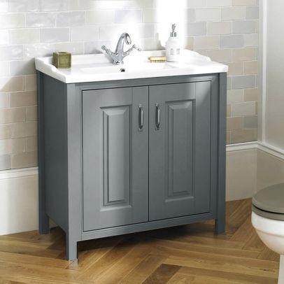 Chiltern 800mm Bathroom Traditional Freestanding Vanity Basin Unit Grey