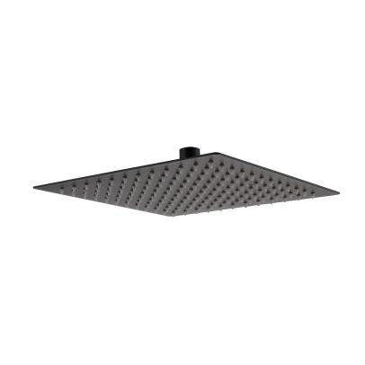 Square Modern Bathroom Thin 200mm Shower Head Matte Black