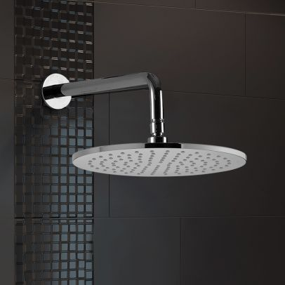Wall Mounted Round 200mm Rainfall Shower Head and Swivel Elbow Chrome