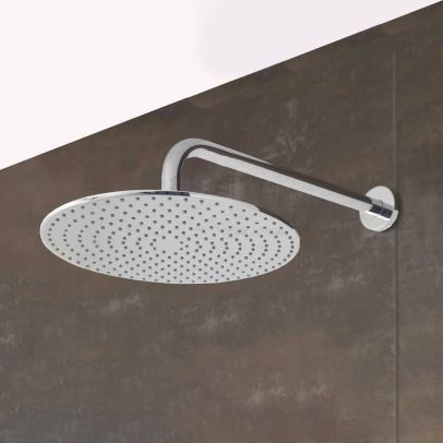 Bathroom  Fixed Chrome Rainfall Shower Round Head With Rubber Nozzles 250mm
