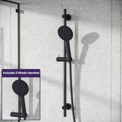 Modern Round Handest & Slider Rail Kit Black Matte