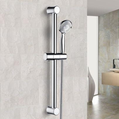 CHROME ROUND BATHROOM SHOWER SLIDER RAIL KIT + HANDSET + SHOWER HOSE