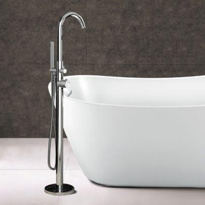 Blossom Freestanding Bath Shower Mixer Tap & Shower Floor Mounted Handset Chrome