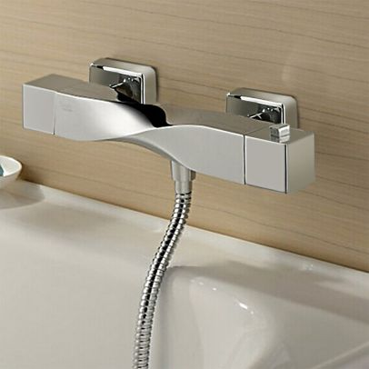 Warp Twisted Exposed Wall Mounted Thermostatic Shower Mixer Chrome