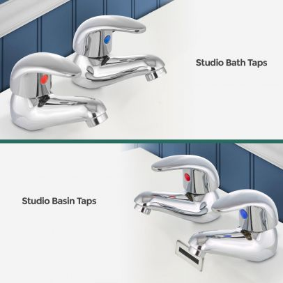 Studio Traditional Hot and Cold Basin and Bath Filler Tap Set