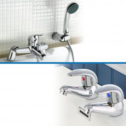 Studio Twin Basin Taps and Bath Shower Mixer Tap Set