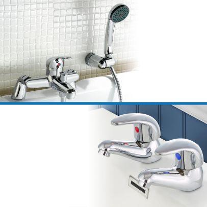 Dame Twin Basin Taps and Bath Shower Mixer Taps Chrome