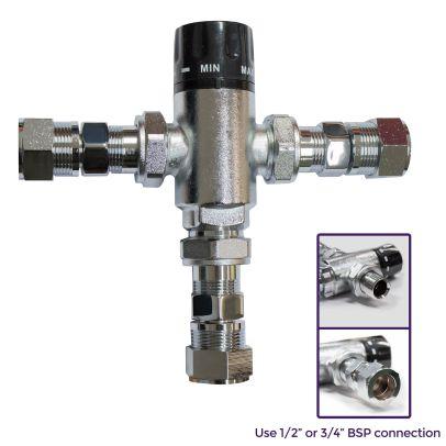 Bathroom Thermostatic Mixing Water Blending Valve  - 22mm Inline TMV