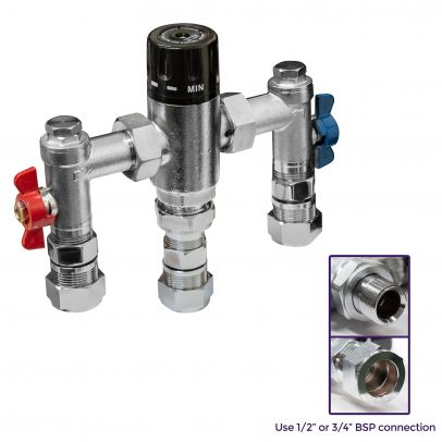 Bathroom TMV Compact Thermostatic Mixing Water Blending Valve - 22mm Inline