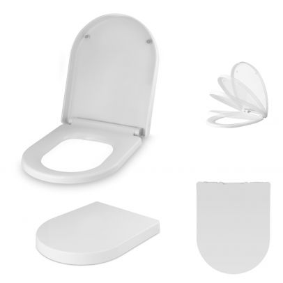 Bathroom D Shaped UF Quick Release Soft close Toilet Seat White