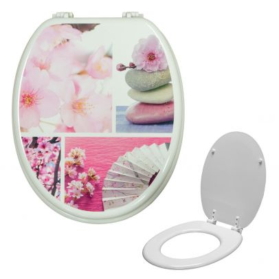 Universal Classic Oval Shaped Design Toilet Seat & Fixings Flower Pink Pattern Print