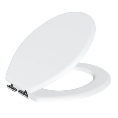 Toilet Seat With Soft Close Classic White MDF Wood 440x380mm