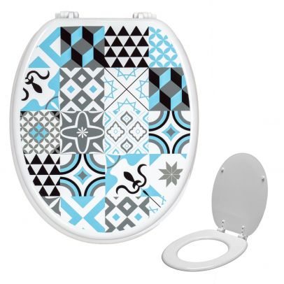 Universal Classic Oval Shaped Design Toilet Seat & Fixings Tile Pattern Print