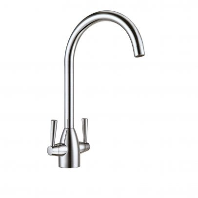 TWIN LEVER BRUSHED NICKEL 360 SWIVEL SPOUT KITCHEN SINK BASIN MONO MIXER TAP