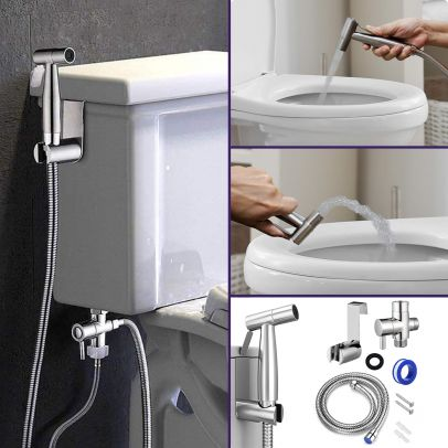 Handheld Bidet Toilet Sprayer Jet Sprayer Kit Silver