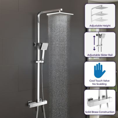Cool Touch Shower Head with Square Thermostatic Bar Valve & Riser Rail Kit Opal