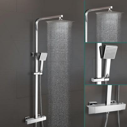 Lois Square Exposed Thermostatic Shower Mixer Set - Slim Shower Head, Riser Rail Kit