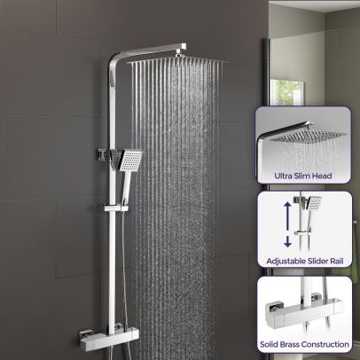 Lois Led Square Bathroom Thermostatic Mixer Shower Valve Chrome Wras Approved