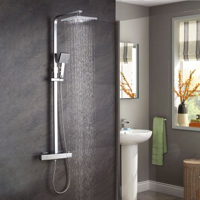 Anson Bathroom Thermostatic Exposed Shower Mixer - Cool Touch Bar Set