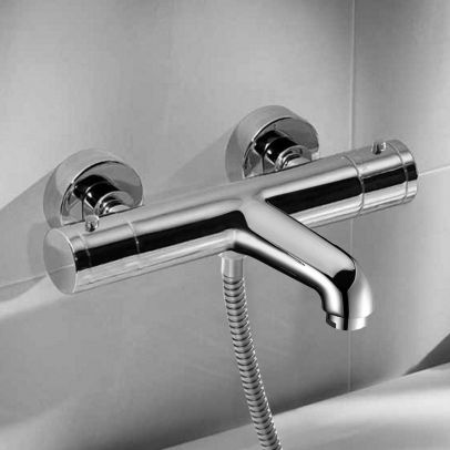 Thermostatic Wall Mounted Chrome Bath Shower Mixer Tap