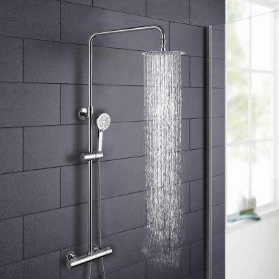 "Helen Premier 8"" Ultra Thin Round Thermostatic Dual Control Riser Shower Mixer"