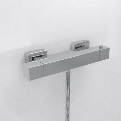 SQUARE THERMOSTATIC BATHROOM BAR SHOWER MIXER VALVE