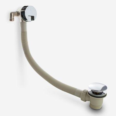 Round Modern Bathroom Waterfall Bath Filler Sprung Waste & Overflow