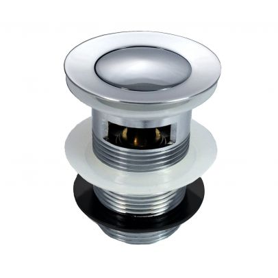 ROUND HEAVY CHROME PLATED SMALL PUSH BUTTON SLOTTED SPRUNG BASIN WASTE